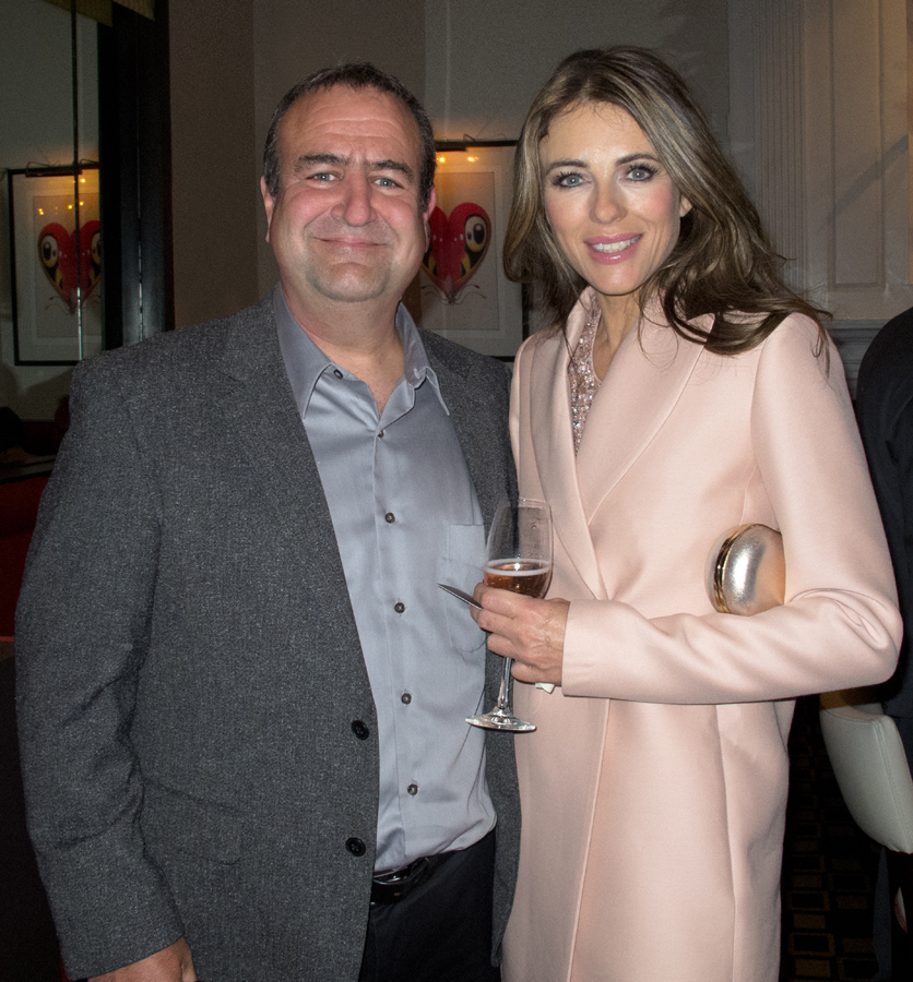 Bob Carey and Elizabeth Hurley at Bloomingdale's #GivePink Dinner